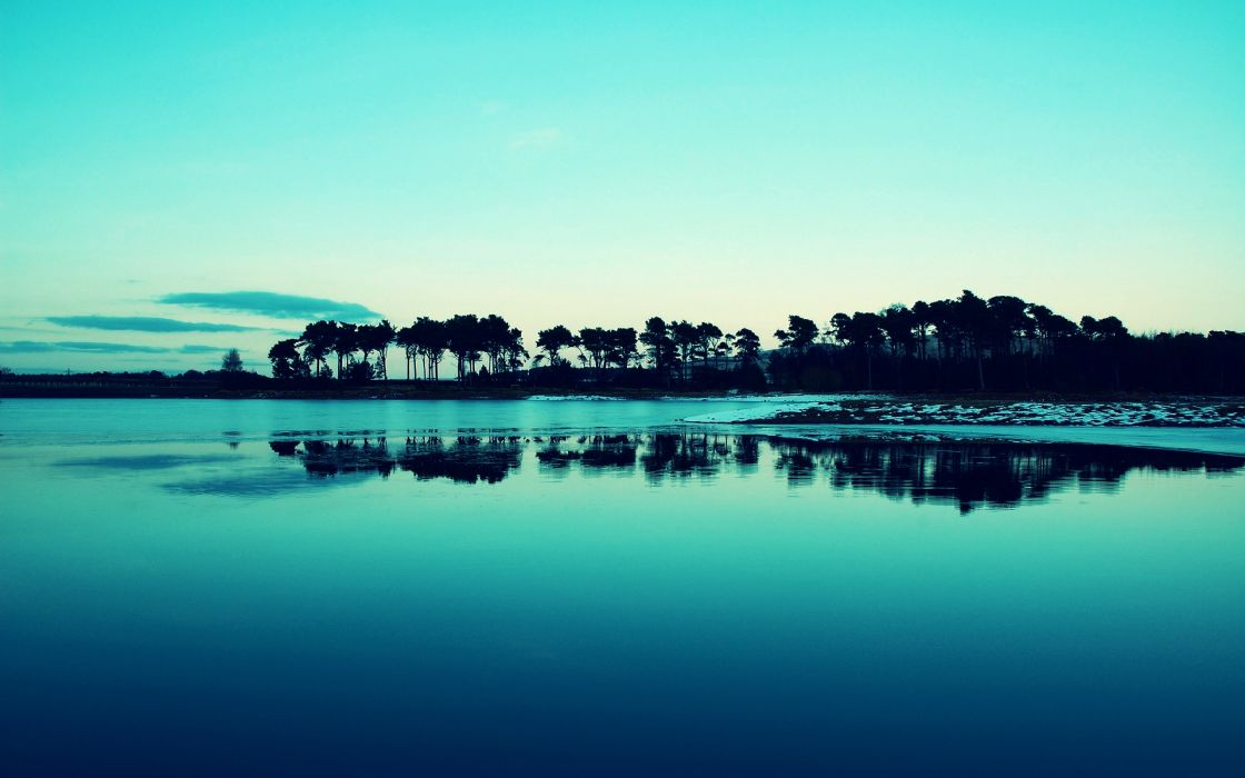 Water blue nature trees islands monochrome wallpaper