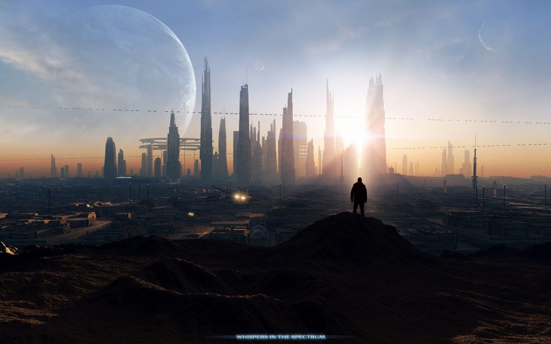 Outer space cityscapes futuristic moon spectrum science fiction vessel darink wallpaper