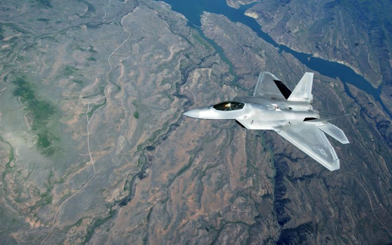 Science landscapes aircraft war fiction airplanes f-22 raptor jet aircraft wallpaper