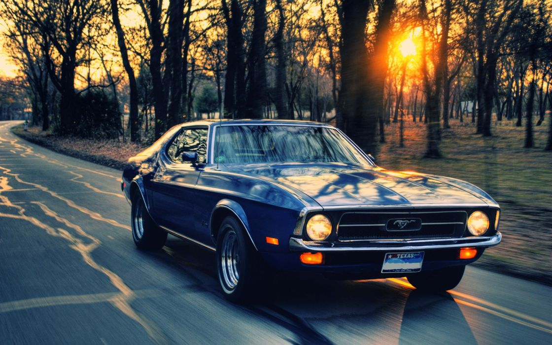 Sunset sunrise trees ford roads ford mustang driving old cars feeling wallpaper