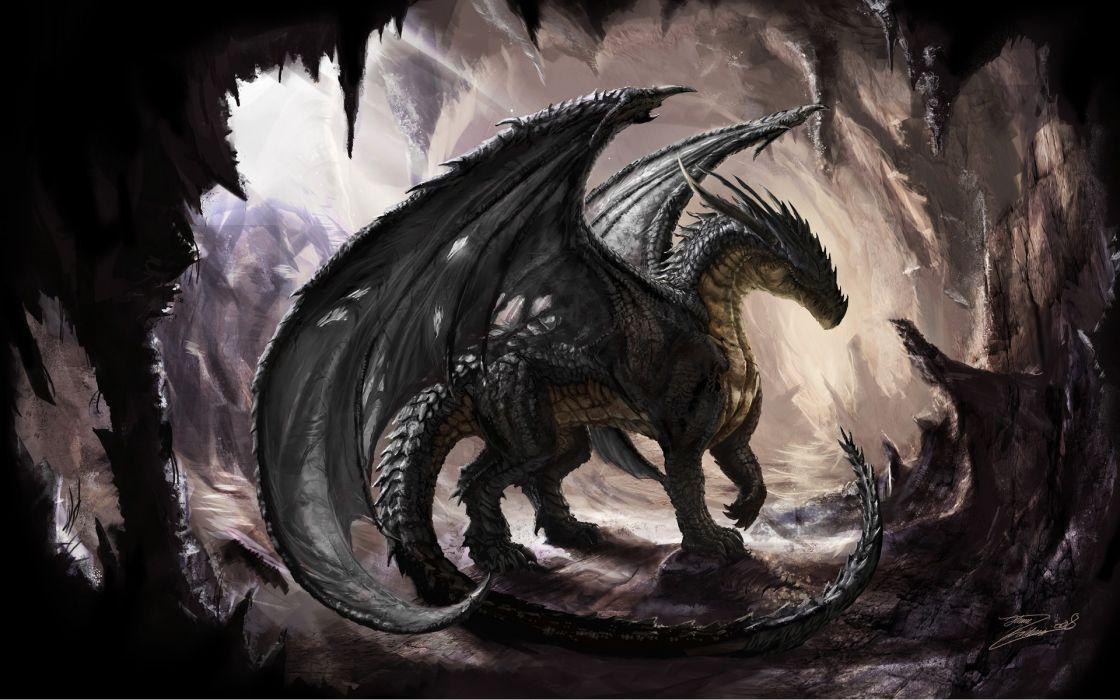 Cave dragons fantasy art digital art artwork wallpaper