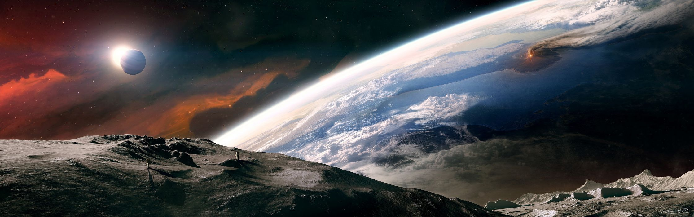 Outer Space Moon Earth Tranquility Dual Monitor Wallpaper