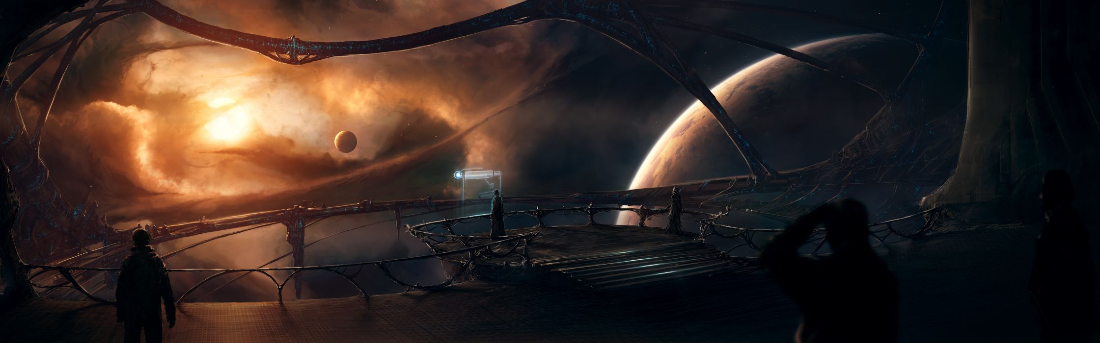 Outer space planets science fiction artwork wallpaper