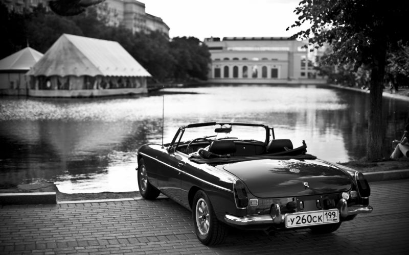 Black white old cars monochrome vehicles lakes greyscale wallpaper