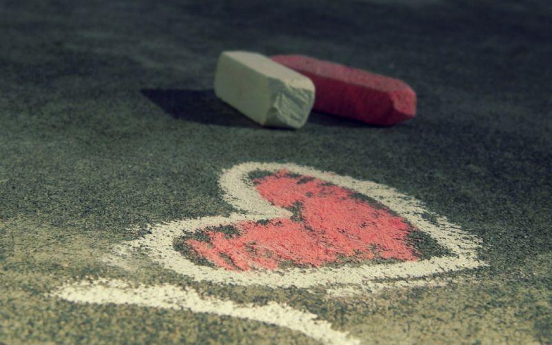 Hearts chalk asphalt wallpaper
