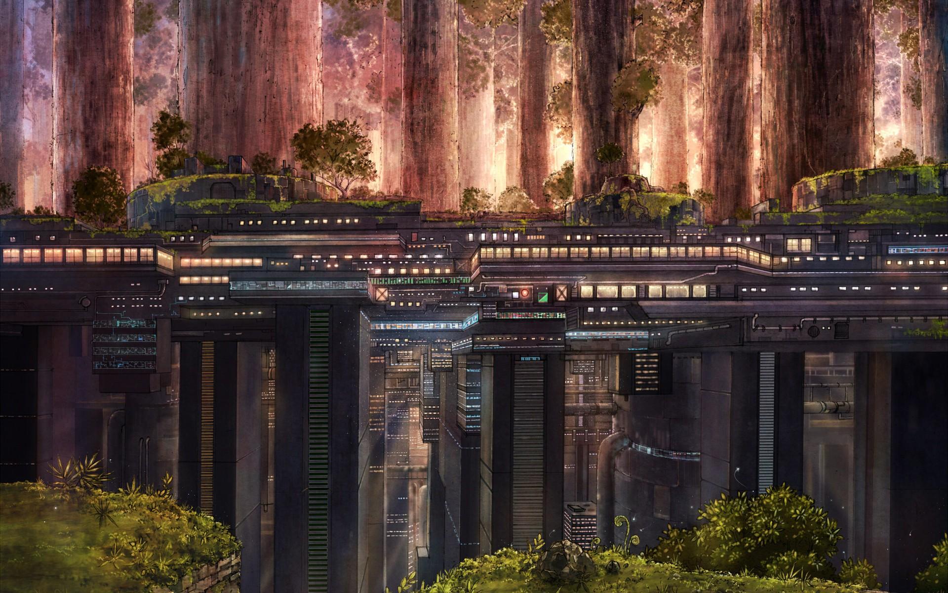 futuristic city Anime