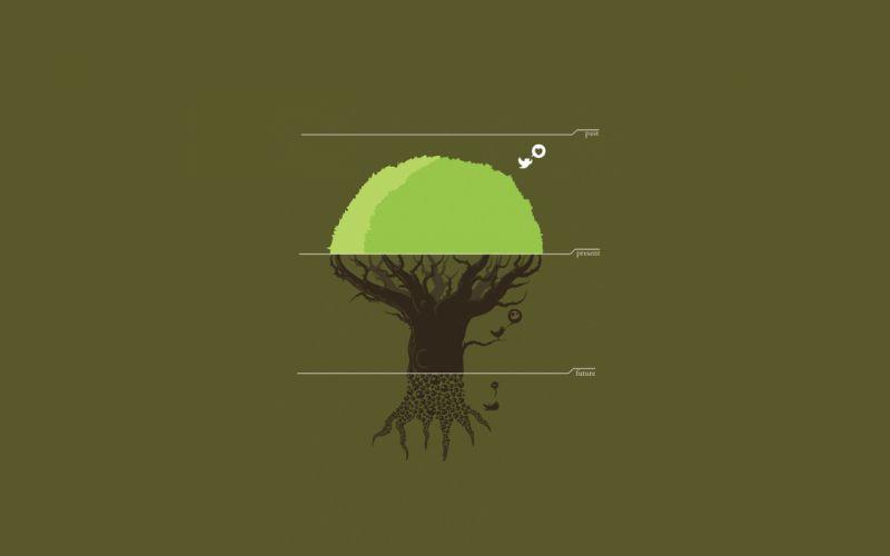 Trees futuristic vector present threadless past depressing wallpaper