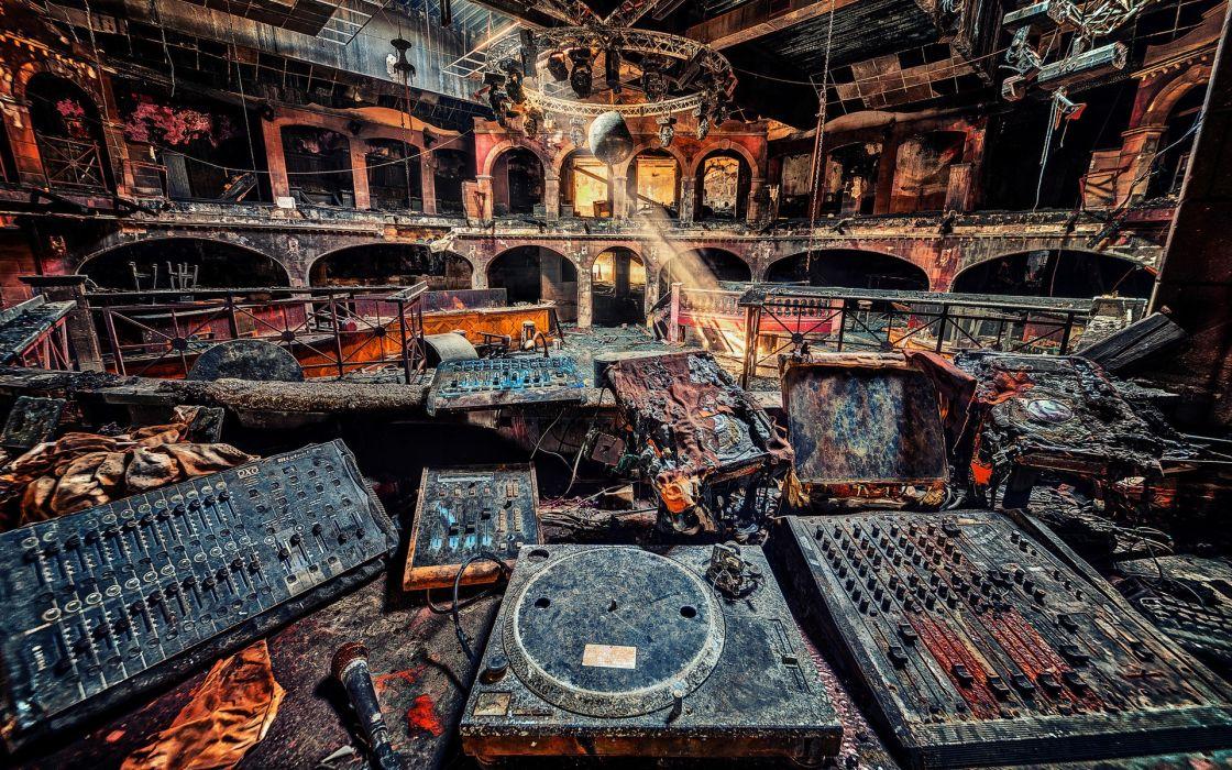 Music ruins fire creative wallpaper