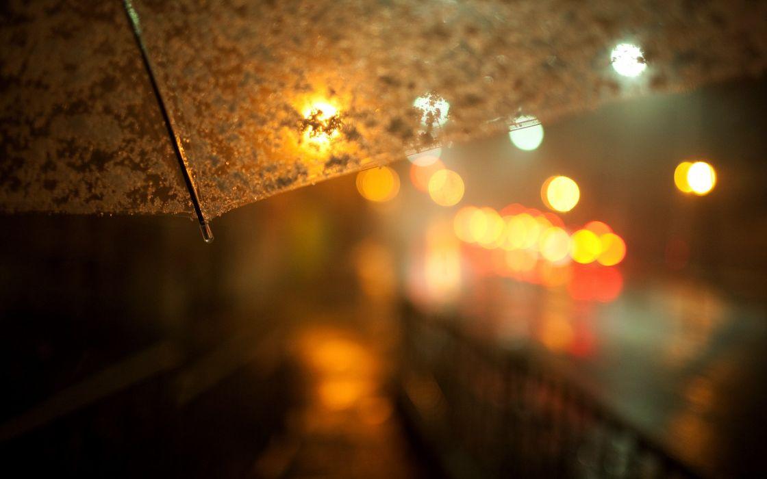 Streets night lights macro umbrellas wallpaper