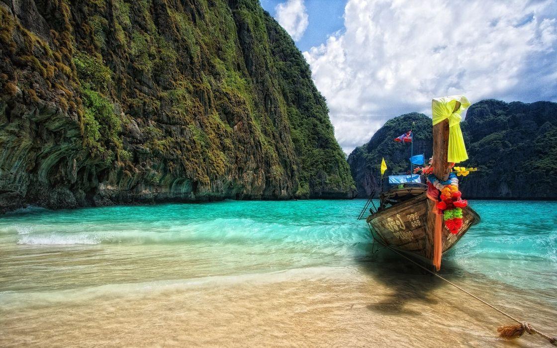 Ocean beach boats vehicles hdr photography wallpaper