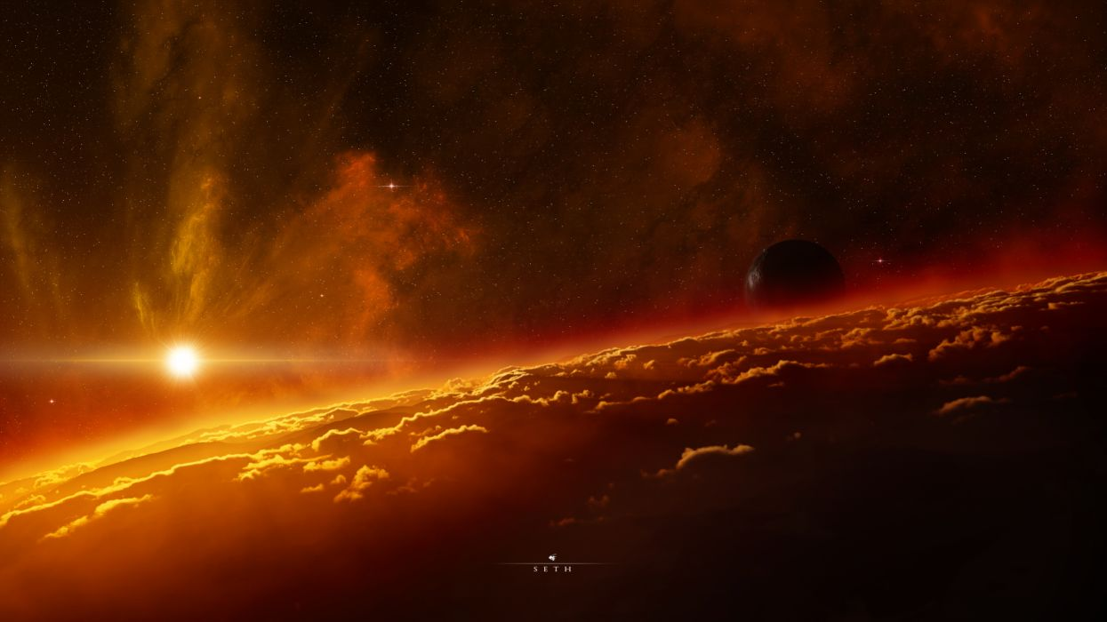 Outer space planets digital art artwork space art wallpaper