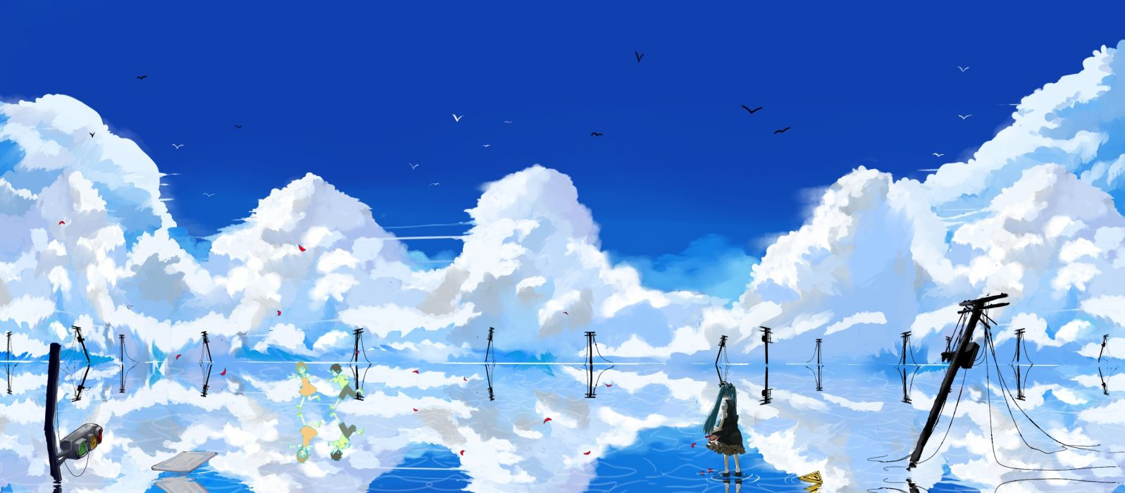 Water abstract blue clouds landscapes vocaloid hatsune miku fantasy art twintails anime run reflections anime girls blue skies wallpaper