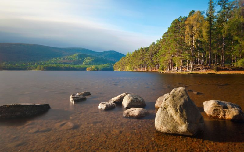 Mountains landscapes trees forest rock lakes wallpaper