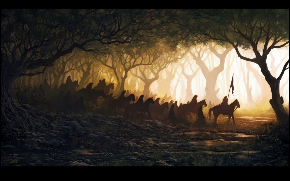 Paintings forest horses wallpaper