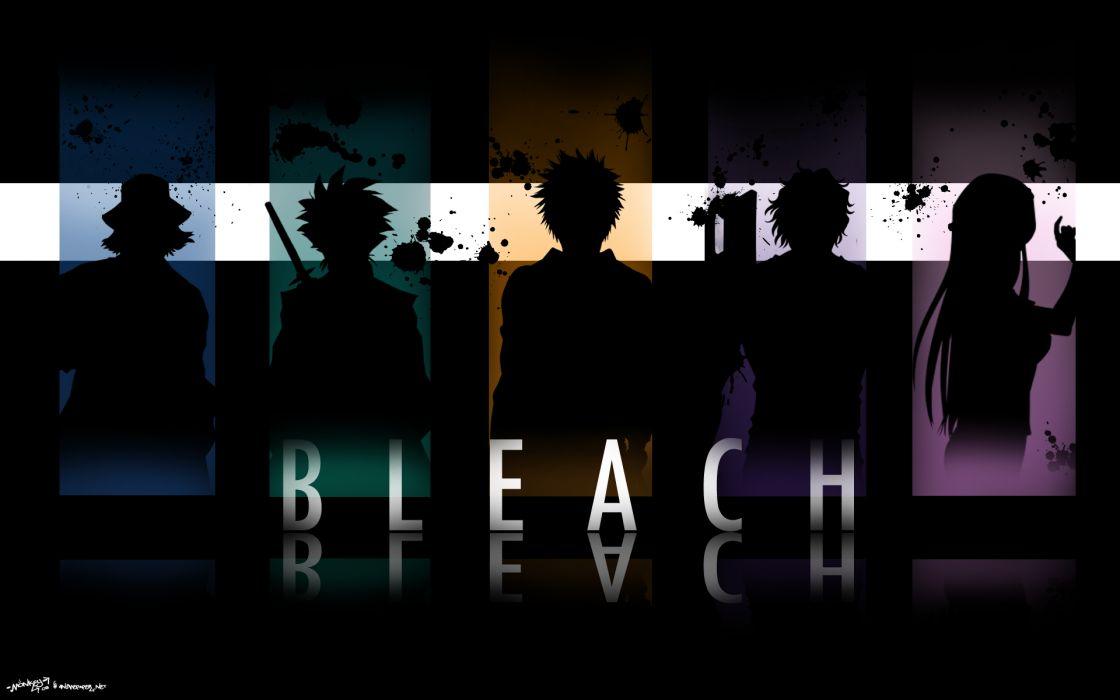 Bleach kurosaki ichigo silhouette urahara kisuke inoue orihime hitsugaya toshiro yasutora sado 'chad' wallpaper