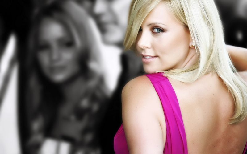 Blondes women actress charlize theron selective coloring wallpaper