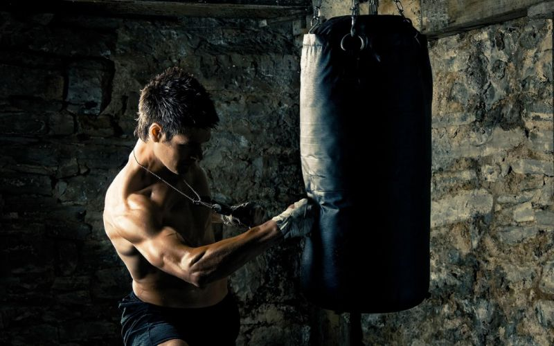 Men boxer punch punching bag wallpaper