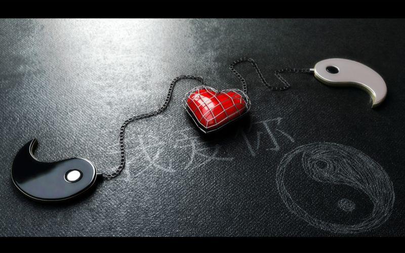 Love symbol ying yang wallpaper