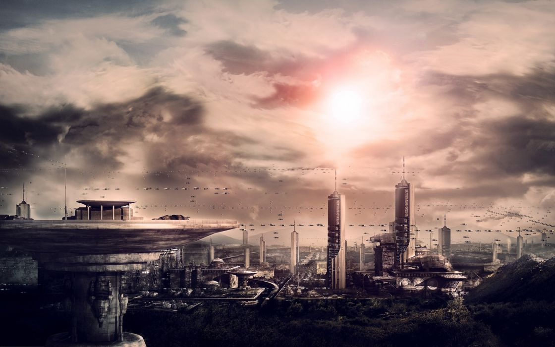 Cityscapes futuristic science fiction artwork modern wallpaper