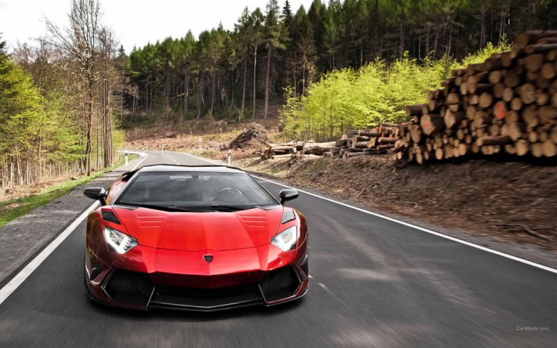 Red cars roads lamborghini aventador mansory wallpaper