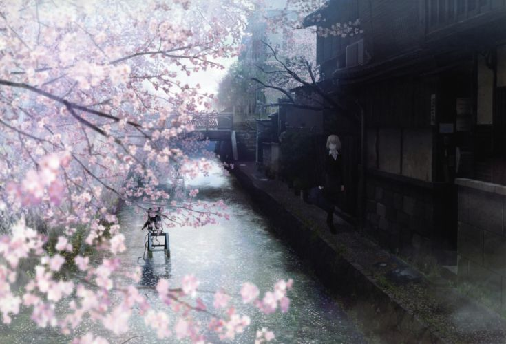 Water cherry blossoms japanese spring watercolor anime girls branches wallpaper
