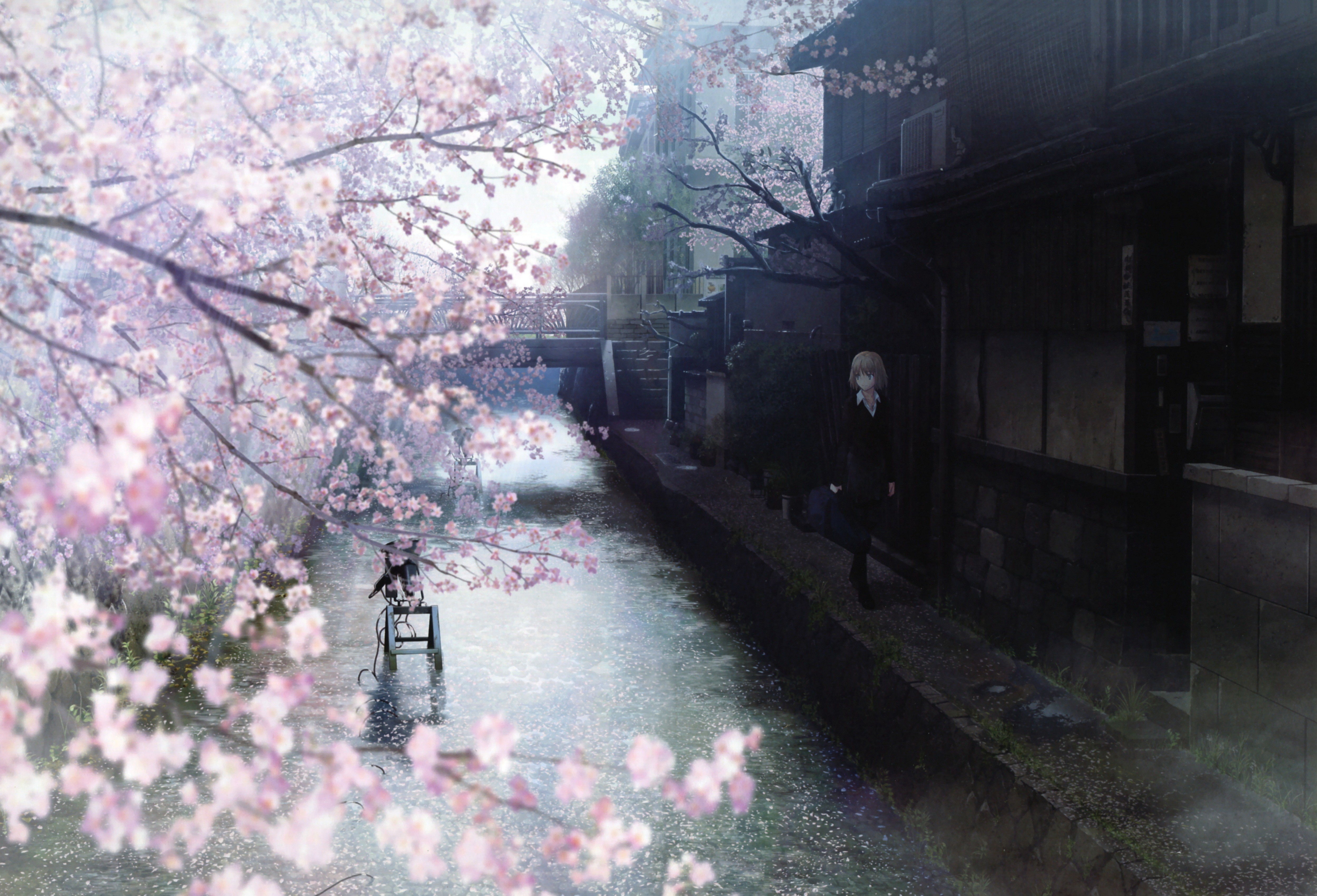 Japanese spring watercolor anime girls branches wallpaper background