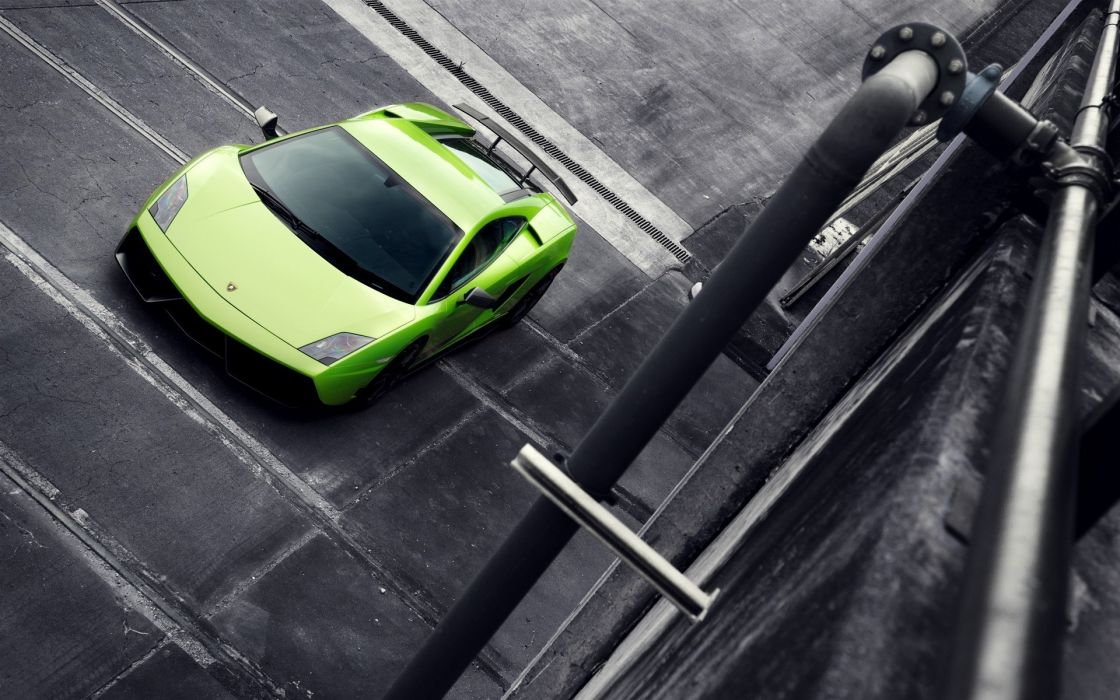 Cars lamborghini selective coloring green cars wallpaper
