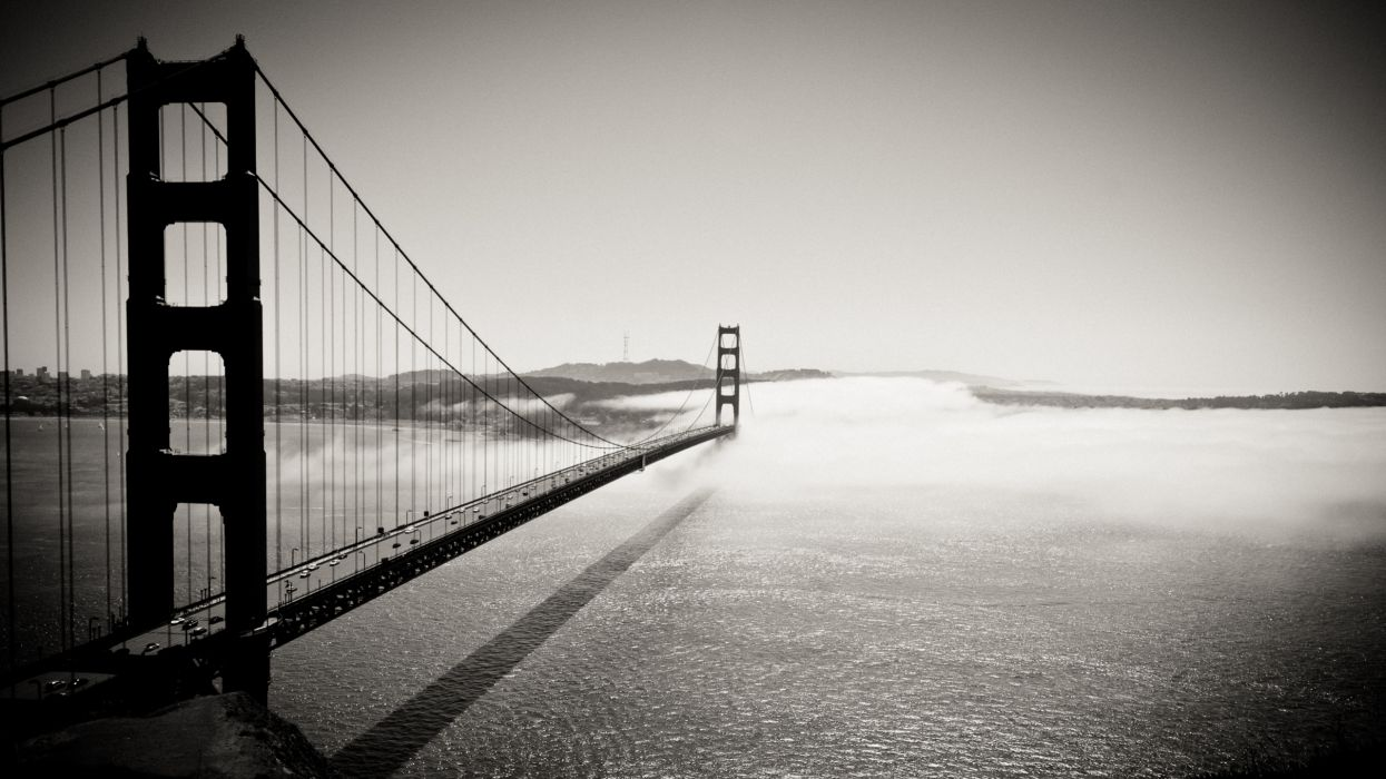Bridges monochrome greyscale wallpaper