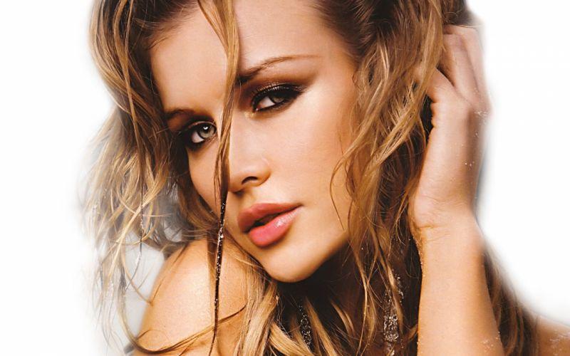 Blondes women models joanna krupa faces white background wallpaper