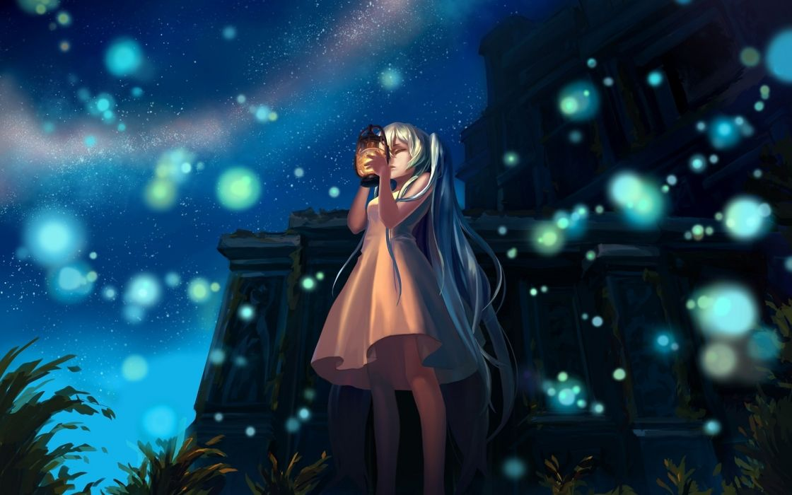 Vocaloid hatsune miku long hair closed eyes aqua hair white dress anime girls oil lamp wallpaper