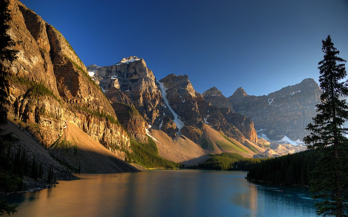 Mountains landscapes nature trees rivers wallpaper