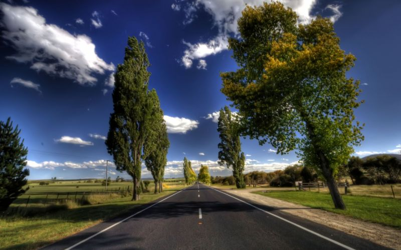 Clouds landscapes nature trees roads skyscapes wallpaper