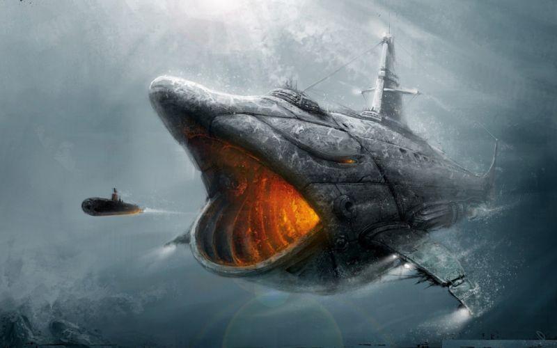 Submarine fish fantasy art artwork wallpaper