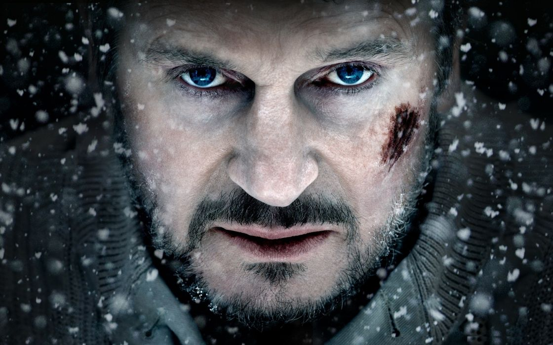 Blue snow eyes movies people celebrity snowflakes actors liam neeson faces the grey wallpaper
