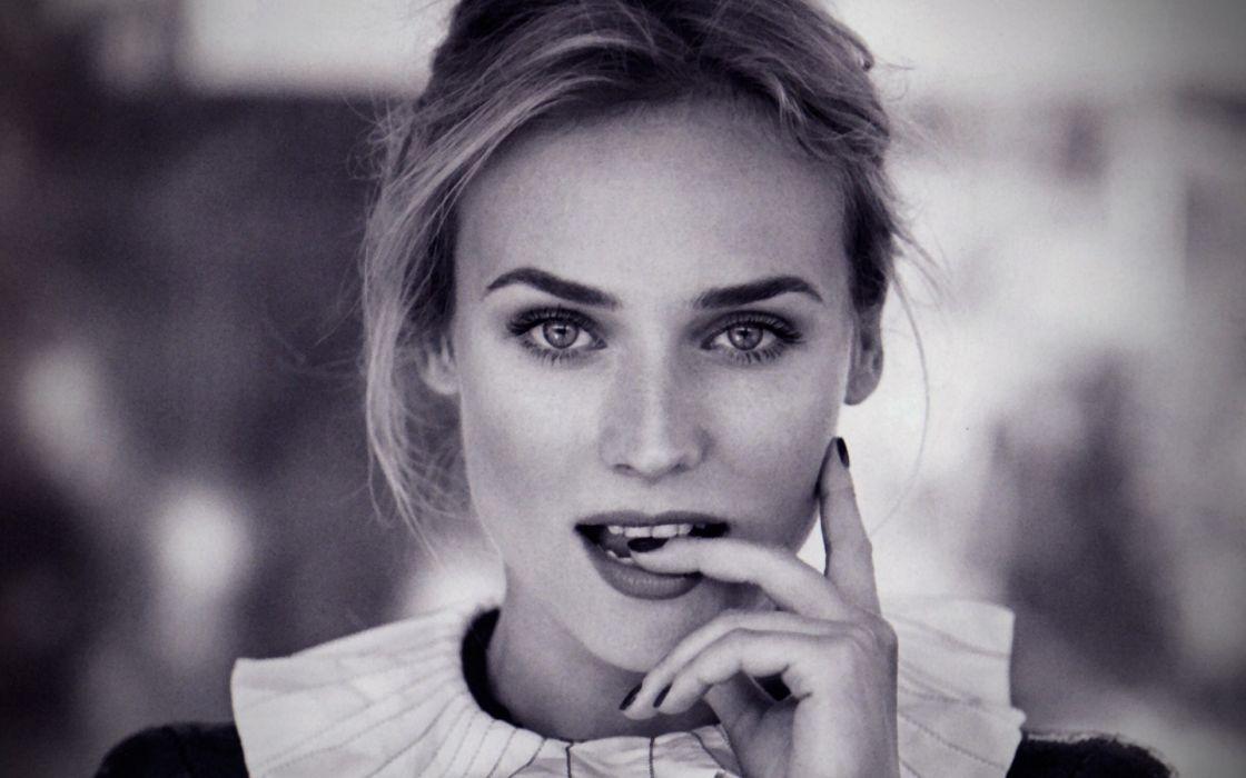 Women actress celebrity diane kruger monochrome faces portraits wallpaper