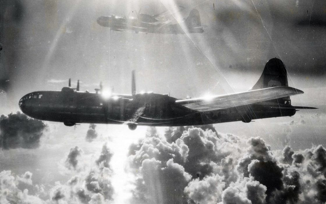 Black and white clouds aircraft monochrome planes b superfortress transports skyscapes wallpaper