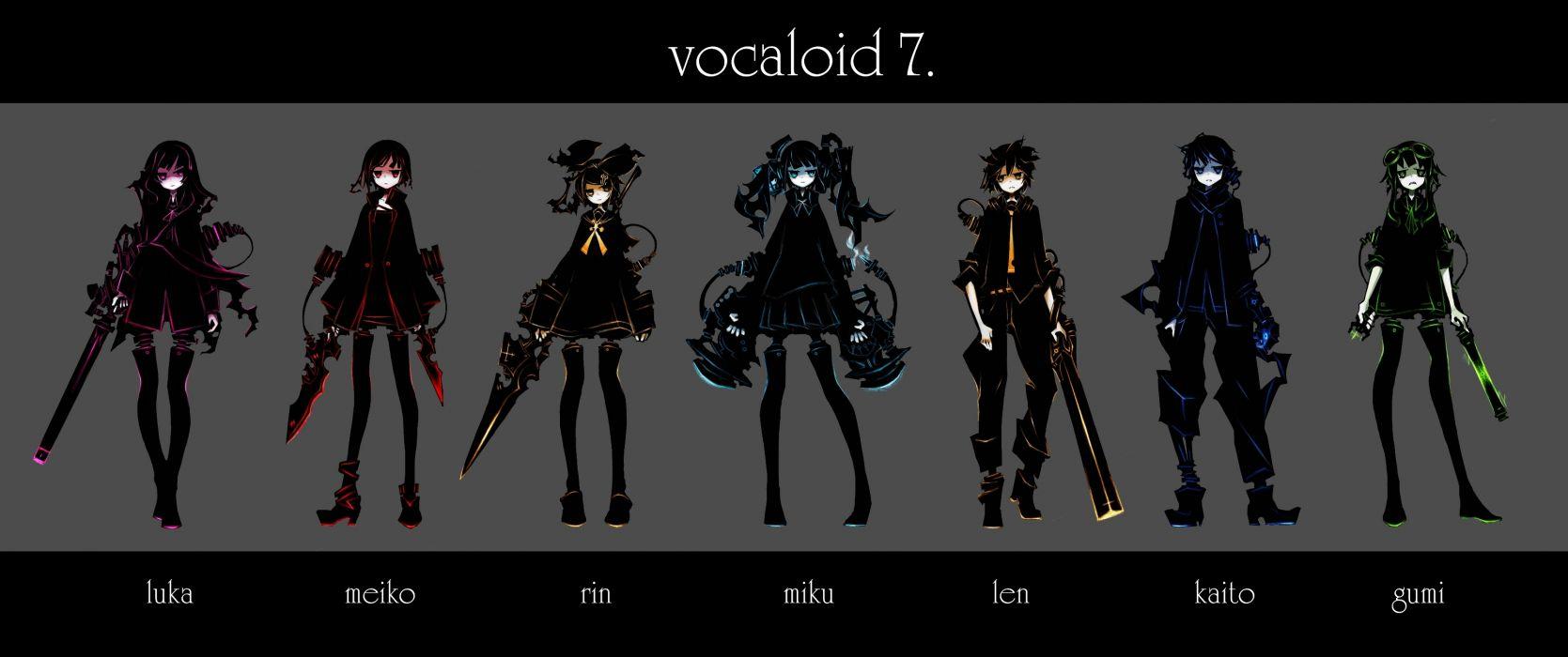 Vocaloid hatsune miku megurine luka groups kaito (vocaloid) kagamine rin kagamine len megpoid gumi meiko wallpaper
