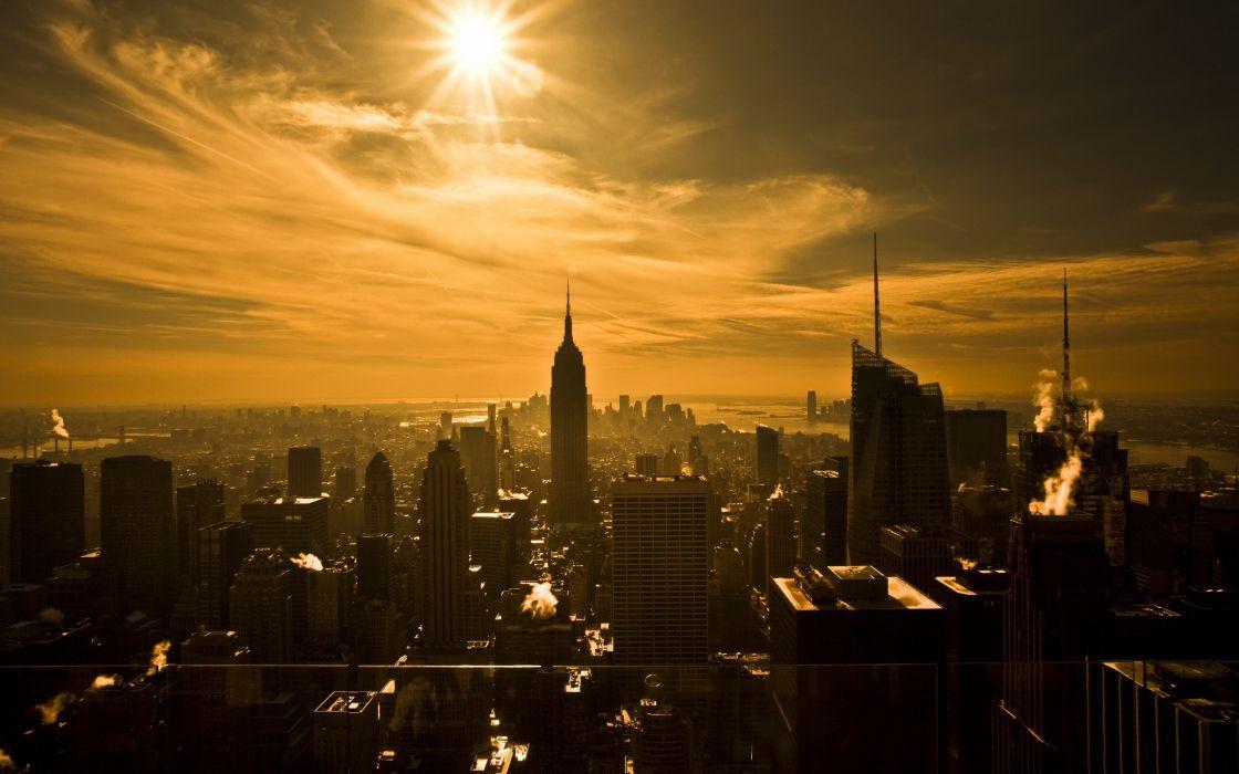 Sun cityscapes skyline buildings wallpaper