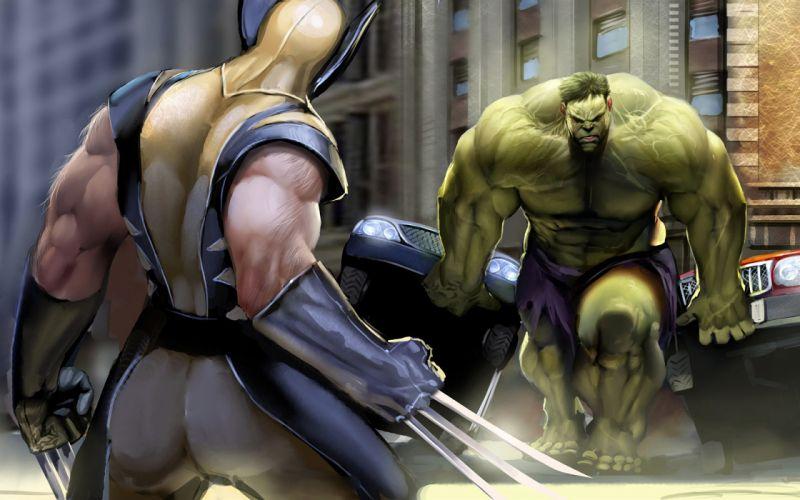Hulk (comic character) wolverine marvel comics wallpaper
