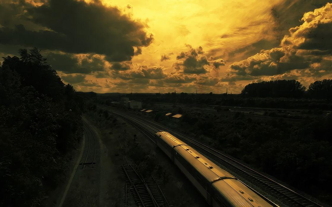 Landscapes trains railroad tracks vehicles wallpaper