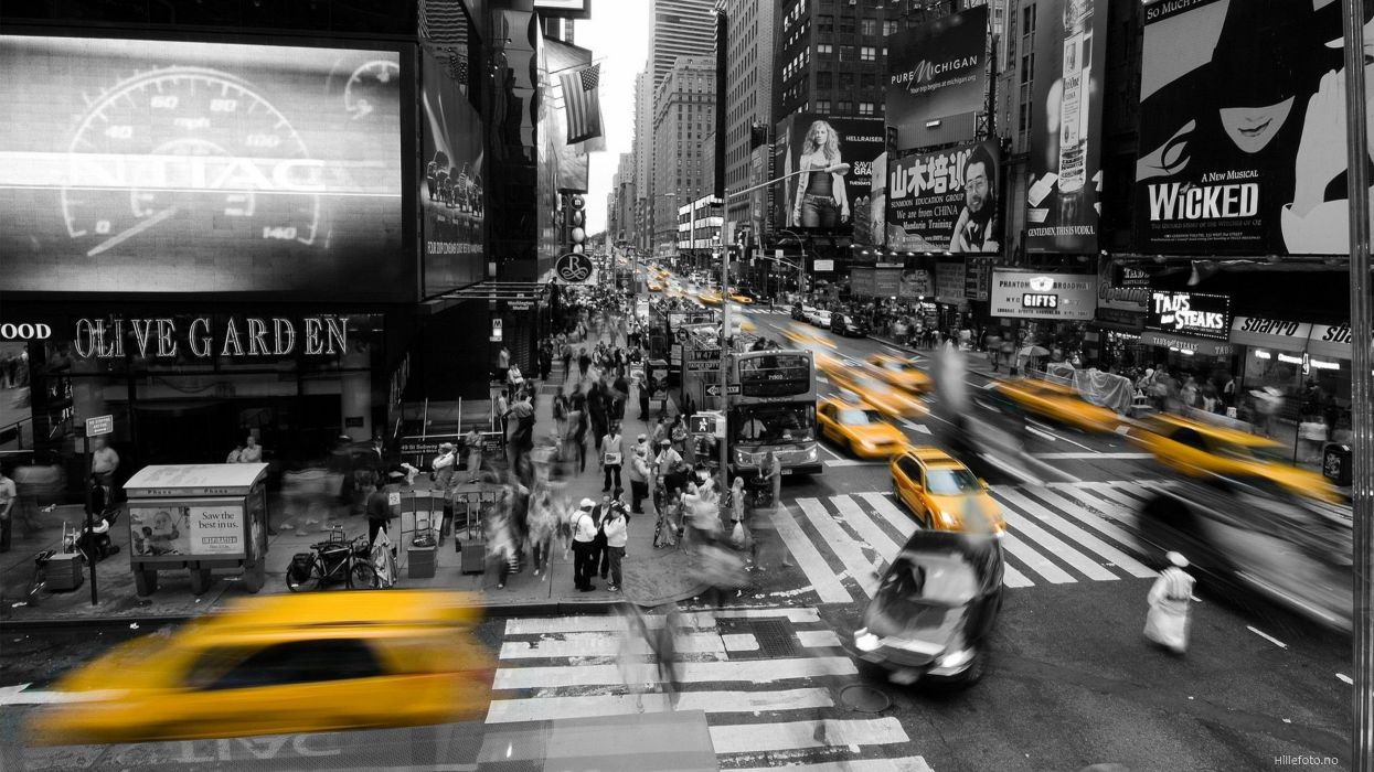 Cityscapes new york city taxi selective coloring wallpaper