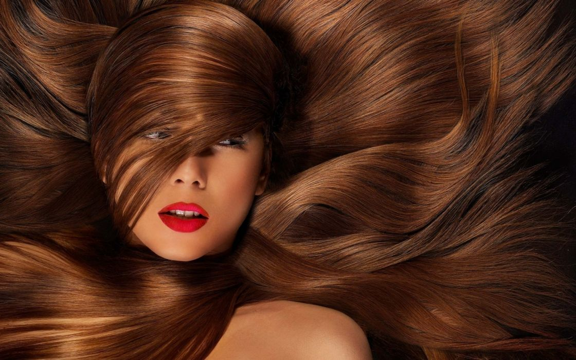 Brunettes women lips hair in face wallpaper