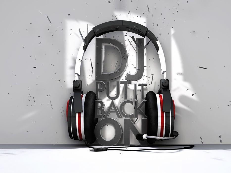 Headphones music text wallpaper
