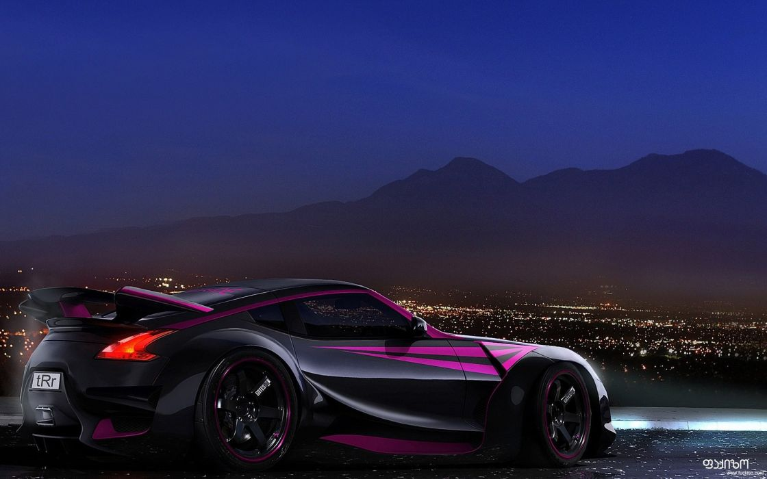 Black cityscapes cars purple vehicles nissan z skyscapes wallpaper