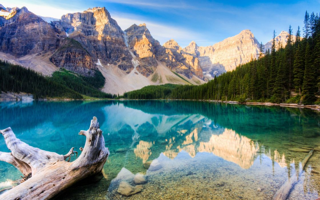 Mountains landscapes trees wood forest lakes wallpaper
