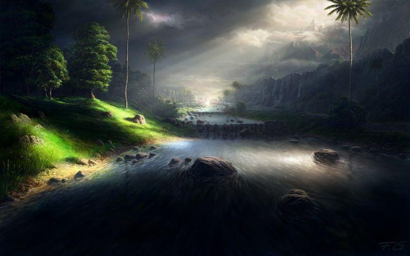Landscapes nature storm digital art palm trees rivers wallpaper