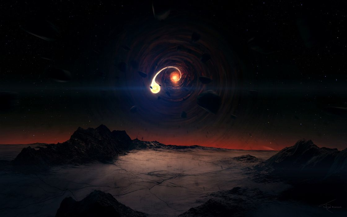 Outer space fantasy art black hole wallpaper