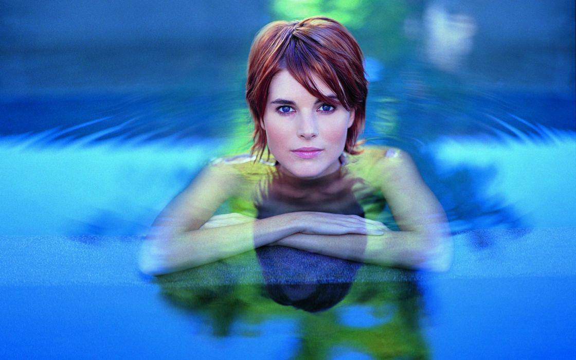 Women water blue eyes redheads short hair faces wallpaper