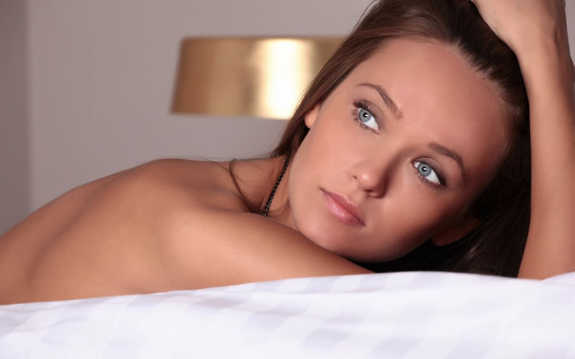 Brunettes women eyes blue eyes beds lips nude faces chantelle a wallpaper