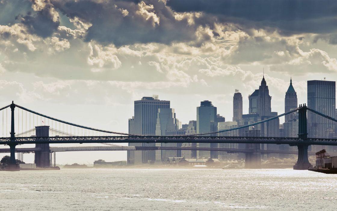 Clouds landscapes cityscapes bridges buildings new york city manhattan rivers skyscapes manhattan bridge wallpaper
